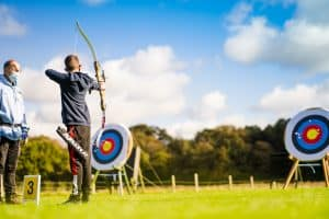 Archers shooting at outdoor range