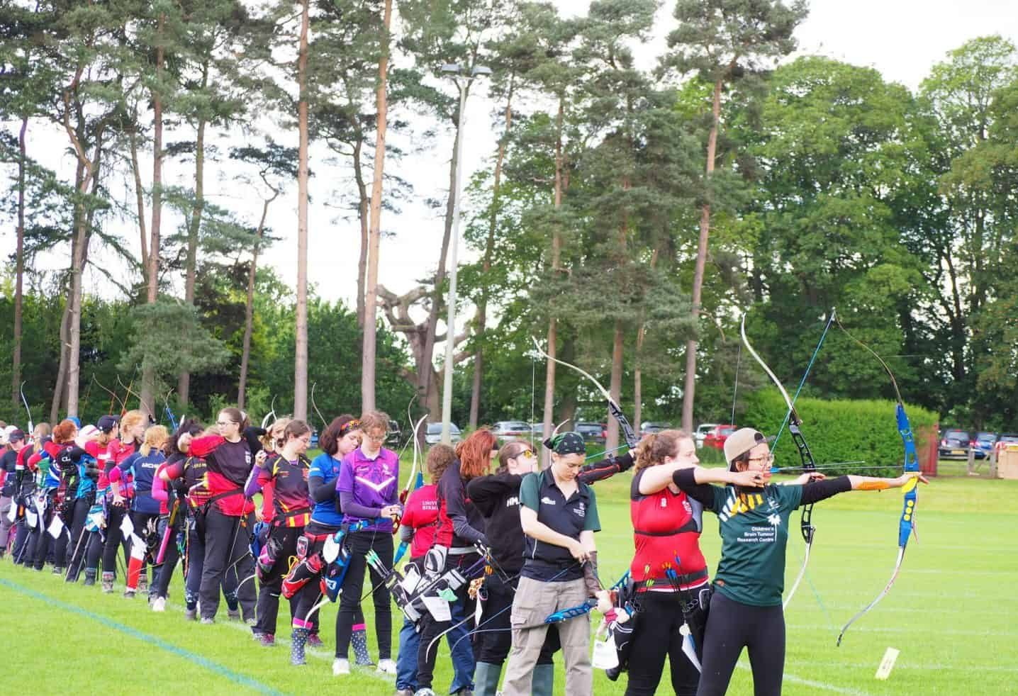 Students taking part in a university archery competition. Credit: Malcolm Rees
