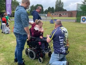 Disabled archer at Big Weekend event, NI