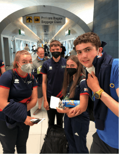 Youth team archers at the airport